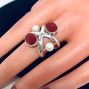 Jewelry - Genuine Red Coral Pearl Sterling Silver 925 Ring